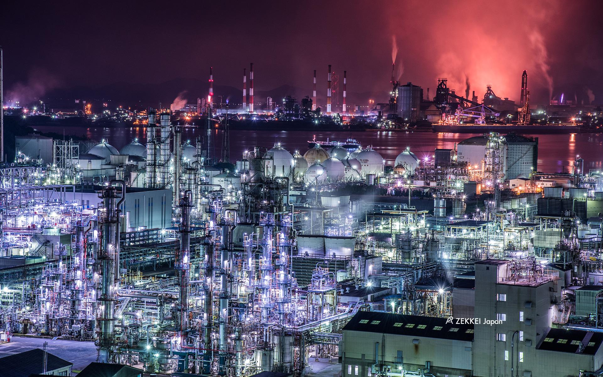 絶景壁紙 Sfチックな非現実世界 工場夜景の壁紙をあなたの待ち受けに