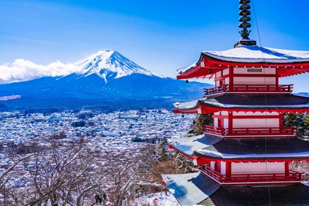 雪景色 富士山 冬